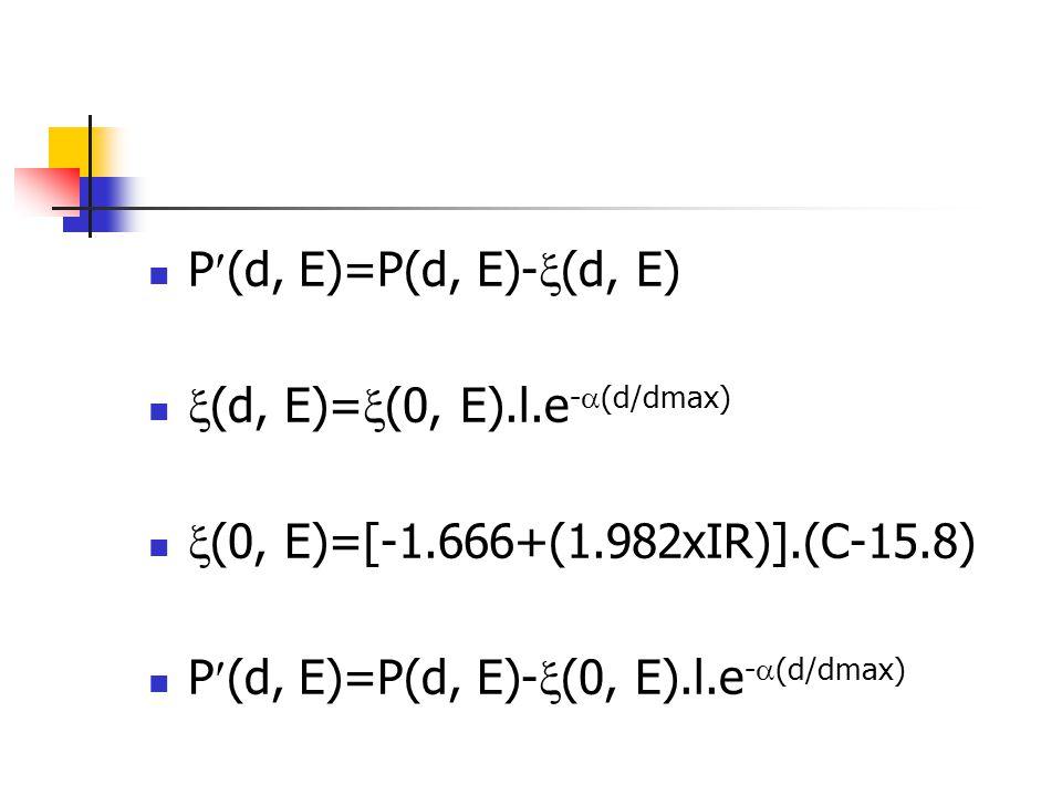 P(d, E)=P(d, E)-(d, E) (d, E)=(0, E).l.e-(d/dmax) (0, E)=[-1.666+(1.982xIR)].(C-15.8) P(d, E)=P(d, E)-(0, E).l.e-(d/dmax)
